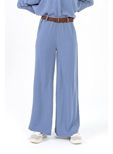 Tiffany&Tomato Hasır Kemer Yüksek Bel Bol Paça Pantolon İndigo